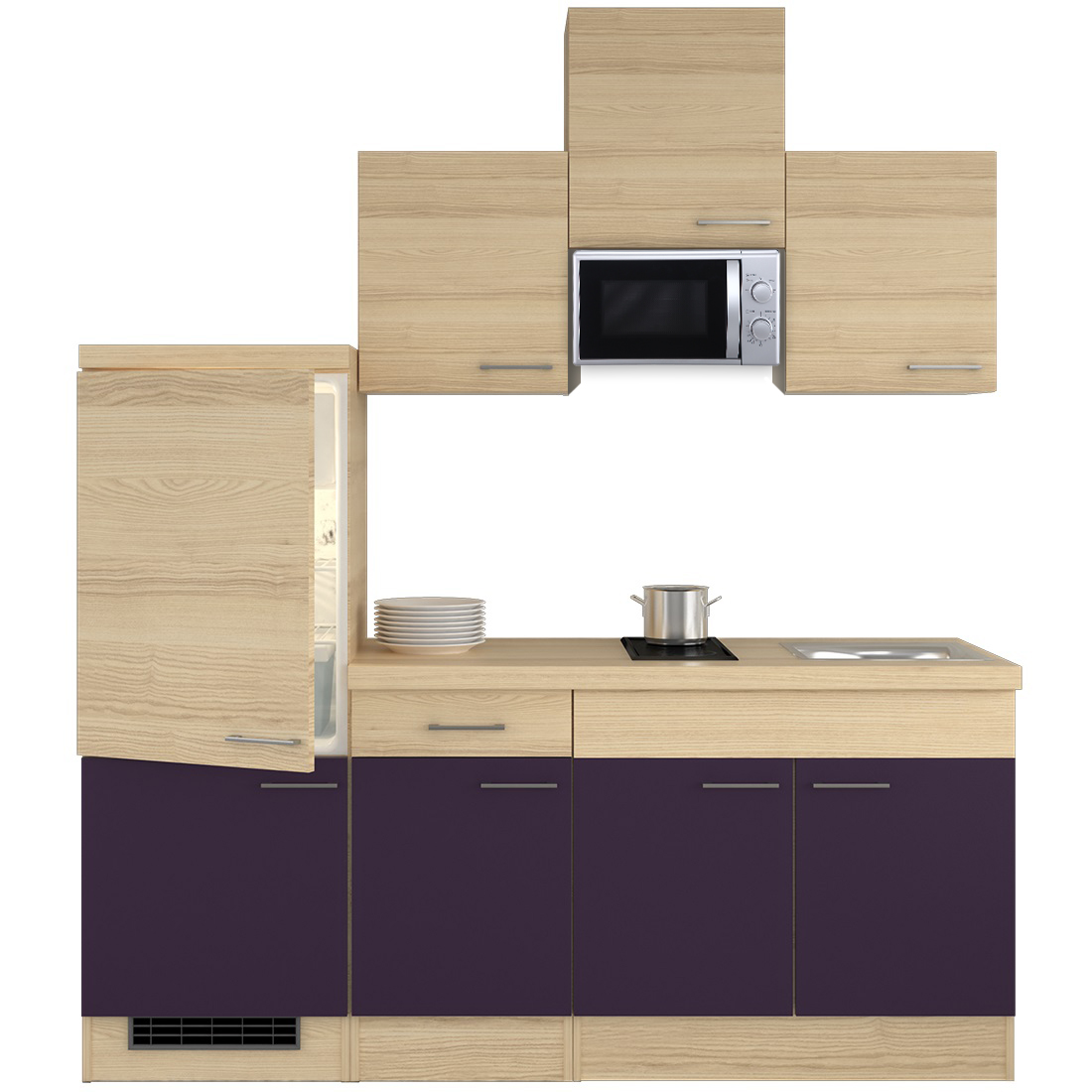 k chenzeile 210 cm aubergine akazie mit unterbau mikrowelle k hlschrank sp le zafia. Black Bedroom Furniture Sets. Home Design Ideas